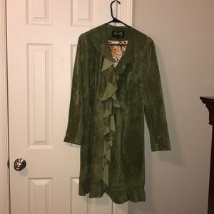Scully Leather Green Velvet duster size S